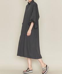 <ASTRAET>胸飾 立領 襯衫式洋裝 日本製
