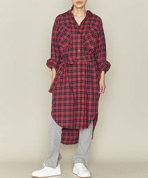 ASTRAET 2口袋 格紋 襯衫式洋裝
