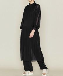 <ASTRAET>14G 百褶 高領針織連身裙 日本製
