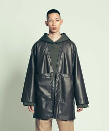 UNITED ARROWS & SONS SYNTHETIC LEATHER HAORI 仿皮革 和服外套 日本製