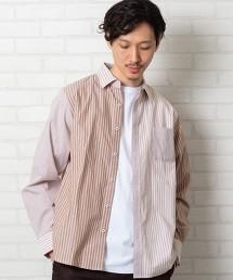 直條紋拼接 工裝長袖襯衫