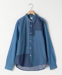 塊狀格子拼接標準領襯衫