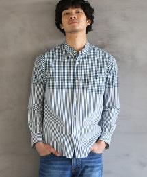 先染小方格格紋×直條紋釦領襯衫