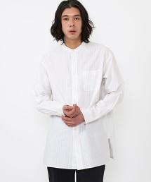 印度棉 直條紋 長版立領襯衫