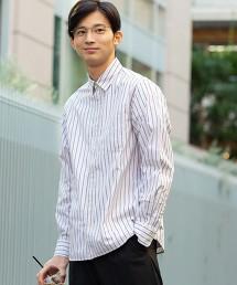 直條紋標準長袖襯衫