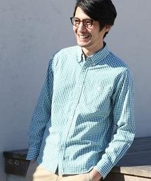 高密度平織(Typewriter cloth)小方格格紋(Gingham Check)扣領襯衫