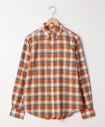 棉麻格紋長袖襯衫