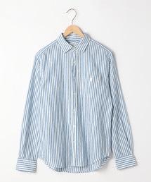 棉麻直條紋標準領襯衫