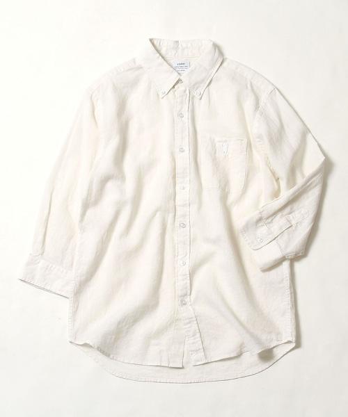 棉麻平織七分袖釦領襯衫