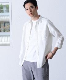 綿麻千鳥格7分袖襯衫