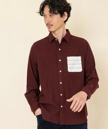 德克薩斯棉花 橫條紋口袋標準領襯衫