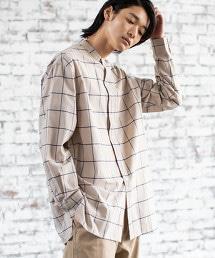 窗格紋 立領 長版襯衫