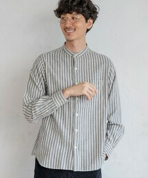 德州棉直條紋立領襯衫