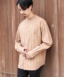 相間直條紋立領襯衫