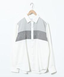針織拼接標準領襯衫