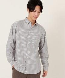 牛津直條紋落肩標準領襯衫