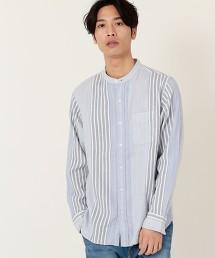 拼接直條紋立領襯衫