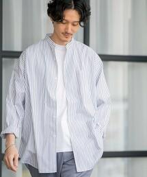 府绸 起毛 寬版 直條紋襯衫