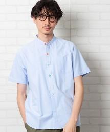 彩色鈕扣牛津立領短袖襯衫#