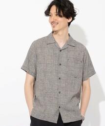 棉麻格紋 開領襯衫