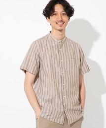 棉麻格紋 立領 直條紋 短袖襯衫