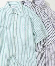 綿麻 直條紋短袖襯衫