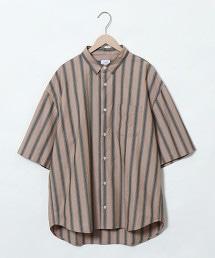 複合直條紋 寬版襯衫