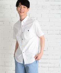 彩色鈕釦牛津襯衫短袖