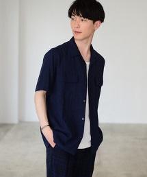 亞麻縲縈開領短袖襯衫