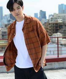 寬版棉質嫘縈格紋開領襯衫