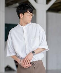 【YOKUBARI亞麻】立領彩色短袖襯衫