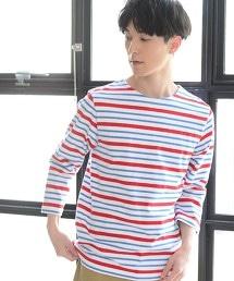 天竺橫條紋船型領7分袖T恤