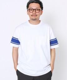 美式足球線條袖口印花T恤