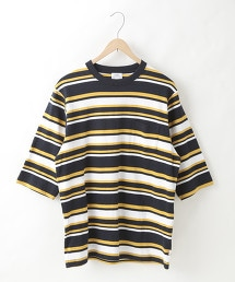 USA美國棉五分袖多色橫條紋TEE