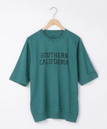 3角棉片粗節5分袖印花T恤