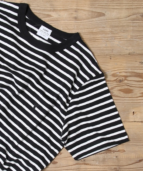粗紡橫條紋口袋T恤
