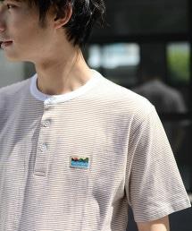 SUNNY SPORTS 特別訂製 USA美國棉 亨利領橫條紋T恤