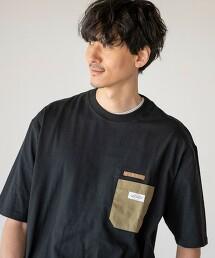 人字紋 口袋 5分袖T恤