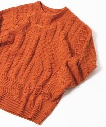 阿蘭島織麻花針織圓領毛衣