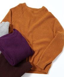 混紡小羔羊毛畦編圓領針織衫