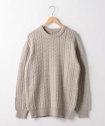 繩紋圓領針織毛衣