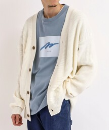 厚針織寬版V領對襟外套