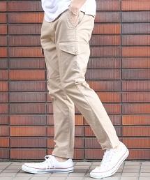凸紋布彈性6貼袋修身工作褲(cargo pants)