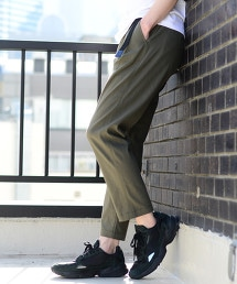綿麻綾織彈性錐形輕便褲