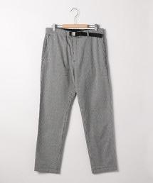 棉質彈性格紋輕便九分褲