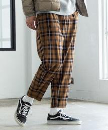 TR彈性寬版錐形格紋褲