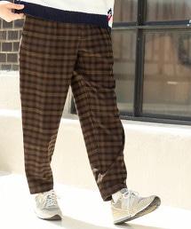 TR彈性起毛寬版格紋錐形褲