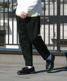 葛城厚斜紋布 雙摺 寬版錐形褲(牛仔褲)#