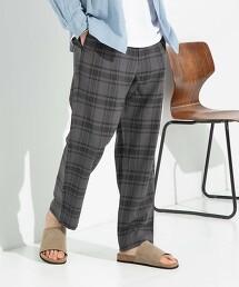 聚酯纖維 格紋輕便褲