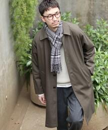 層壓寬版巴爾瑪肯大衣(英倫格紋大衣)#